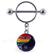Nipple ring with dangling rainbow ying-yang