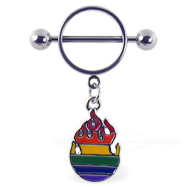 Nipple ring with dangling rainbow flame