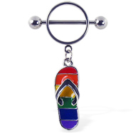 Nipple ring with dangling rainbow flipflop