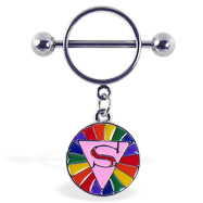 "Nipple ring with dangling rainbow circle with ""S"""