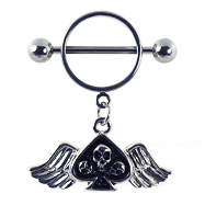 Nipple ring with dangling skull with wings