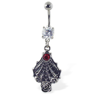 Navel ring with dangling spider web and gem