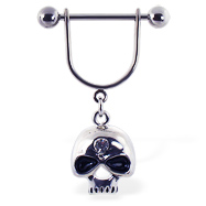 Nipple ring with dangling skull with gem