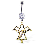 Navel Ring with Dangling Yellow Angel with Gems