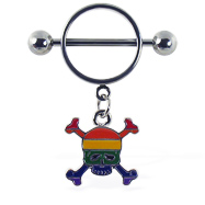 Nipple ring with dangling rainbow skull and crossbones