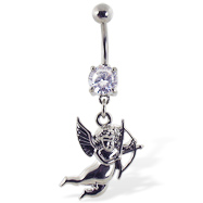 Navel ring with dangling cupid