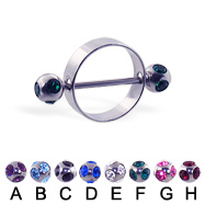 Nipple Ring With Multi Gem Balls, 16 Ga
