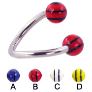 Spiral barbell with double striped balls, 12 ga