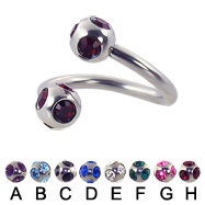 multi gem ball spiral barbell, 12 ga