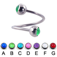 Spiral barbell with hologram balls, 16 ga