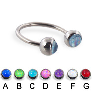 Circular barbell with hologram balls, 16 ga