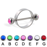 Nipple ring with hologram balls, 16 ga