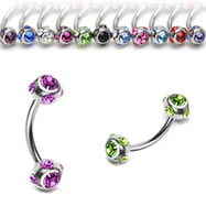 multi gem ball curved barbell, 16 ga