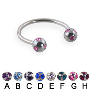 multi gem ball circular barbell, 16 ga