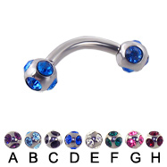 multi gem ball curved barbell, 12 ga