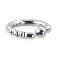 Fancy 4 notch captive bead ring, 8 ga