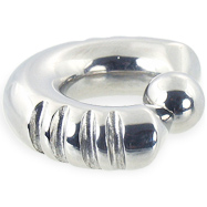 Fancy 4 notch captive bead ring, 0 ga