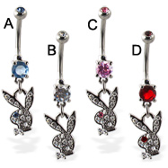 Double jeweled belly button ring with dangling jeweled playboy bunny