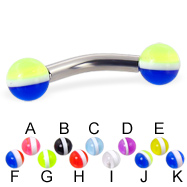 Curved barbell with striped balls, 10 ga