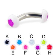 Flower half ball curved barbell, 10 ga