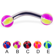 Curved barbell with balloon balls, 10 ga