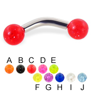 Glitter ball curved barbell, 10 ga