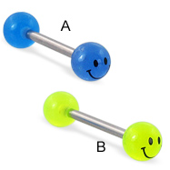 Straight barbell with smiley face glow-in-the-dark logo balls, 14 ga