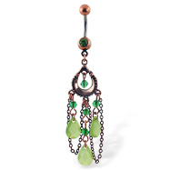 Belly Button Ring with Dangling Green Antique Looking Chandelier