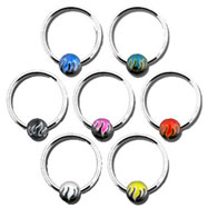 Flame ball captive bead ring, 14 ga