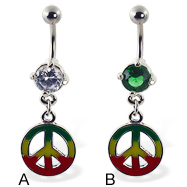 Belly ring with dangling jamaican peace sign