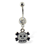 Belly ring with dangling cartoon skull and crossbones