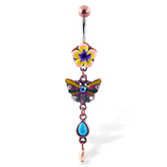 Antique looking belly button ring with flower and dangling butterfly and stones