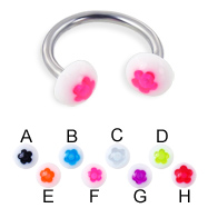Flower half ball circular barbell, 14 ga