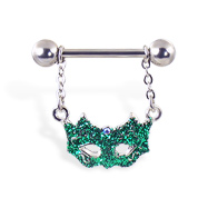 Nipple Ring with Dangling Green Masquerade Mask, 14 Ga