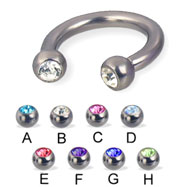 Titanium jeweled circular barbell, 10 ga