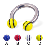 Double striped ball titanium horseshoe barbell, 10 ga