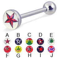 Logo tongue ring, 14 ga