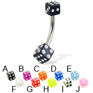 Acrylic dice belly button ring