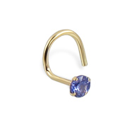 14K Real Yellow Gold Nose Screw With Round 2.5Mm Lavender CZ, 20 Ga