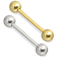 14K Gold Straight Barbell, 16 Ga