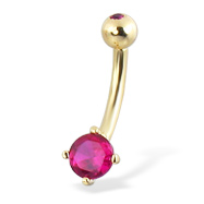 14K Yellow Gold Belly Button Ring With Round Stone And Jeweled Top Ball