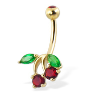 14K yellow gold gemmed cherry belly button ring