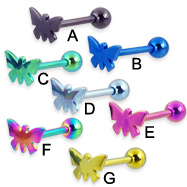 Titanium anodized butterfly tongue ring, 12 ga