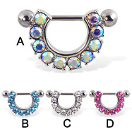 Nipple ring with jeweled arc, 14 ga