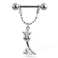 Nipple ring with jeweled flower on chain, 12 ga, 14 ga, or 16 ga