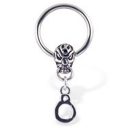Captive Bead Ring With Skull And Handcuffs, 14 Ga