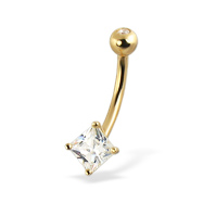 14K Yellow Gold Belly Button Ring with Square Gem