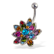 Multicolor jeweled flower belly button ring