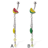 Enamel colored citrus navel ring with beads and dangles