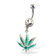 Jeweled belly button ring with dangling cannabis leaf